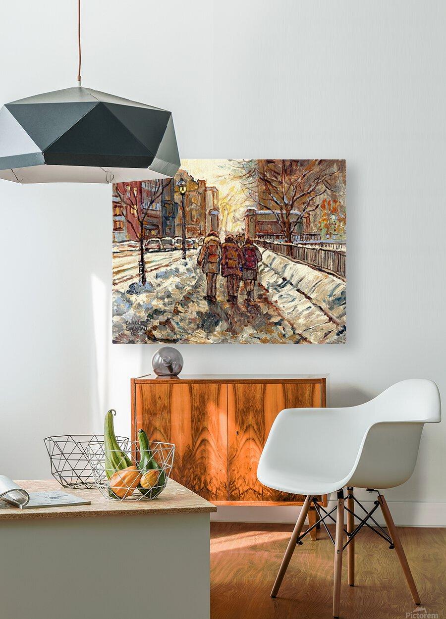 MONTREAL WINTER SCENE MCGILL WINTER WALK NEAR RODDICK GATES  HD Metal print with Floating Frame on Back