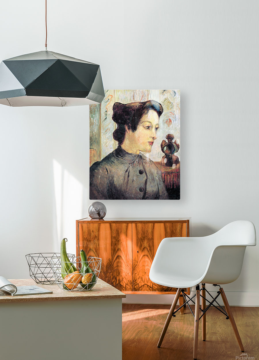 Women With Topknots by Gauguin  HD Metal print with Floating Frame on Back