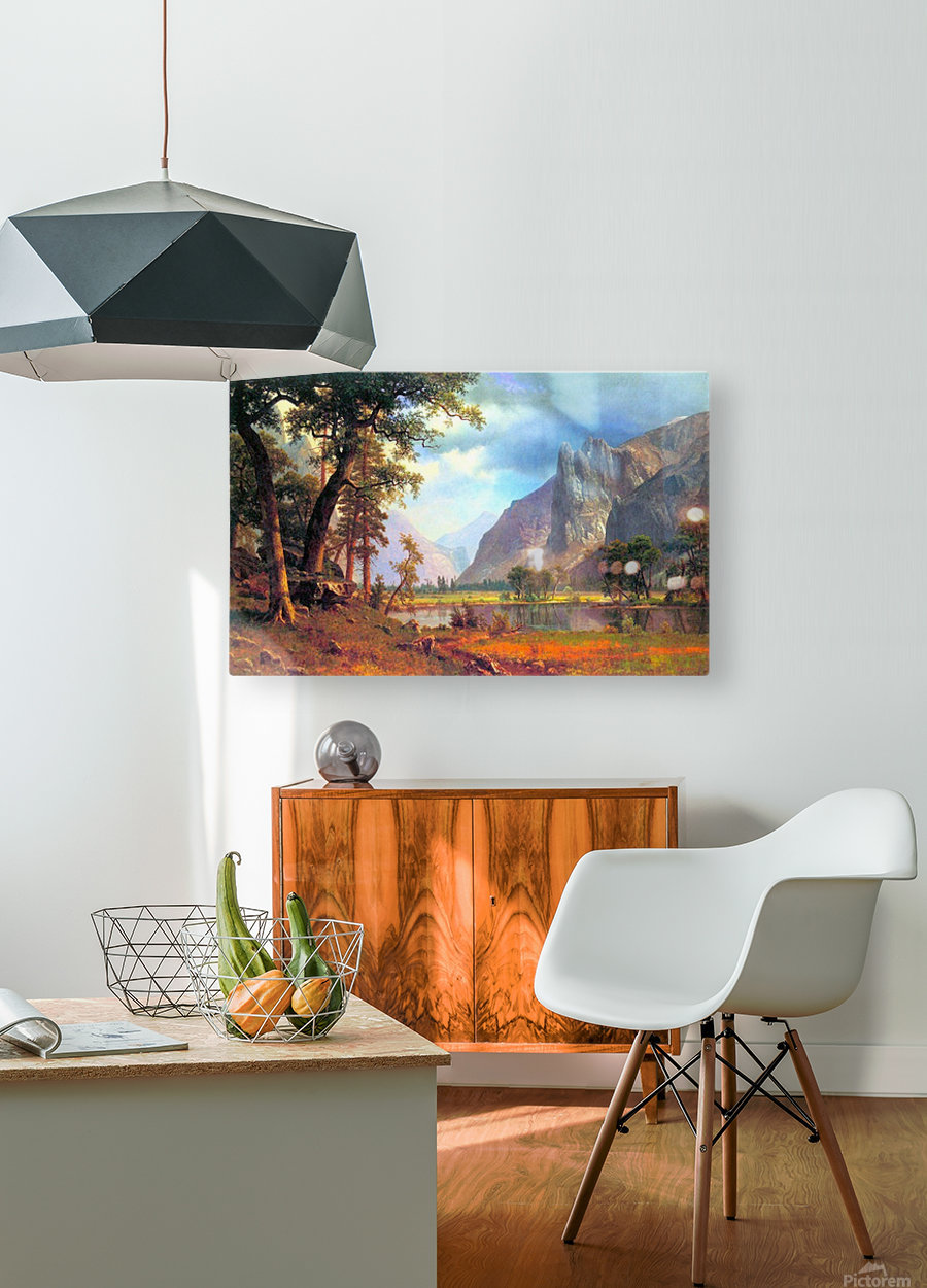 Yosemite Valley 2 by Bierstadt  HD Metal print with Floating Frame on Back