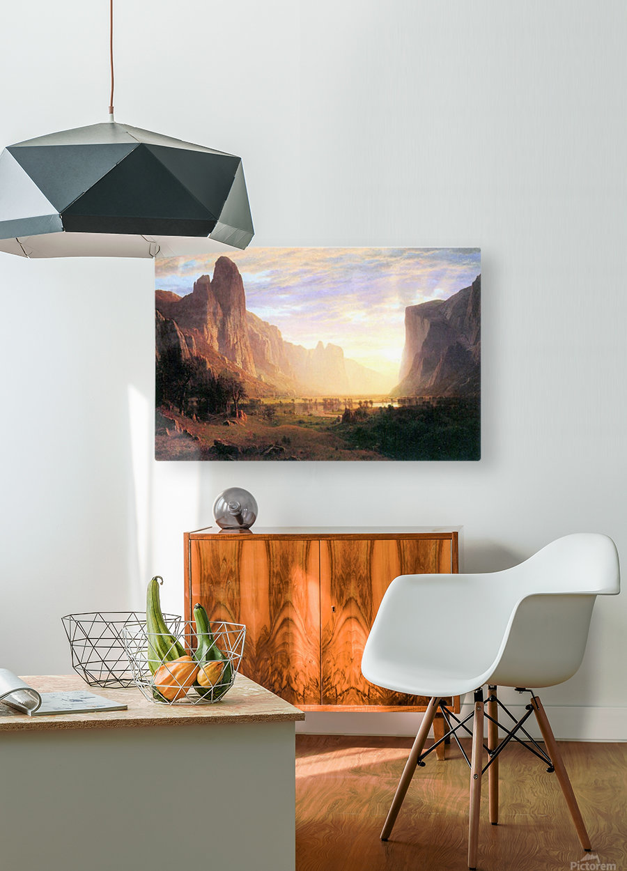 Yosemite Valley 3 by Bierstadt  HD Metal print with Floating Frame on Back