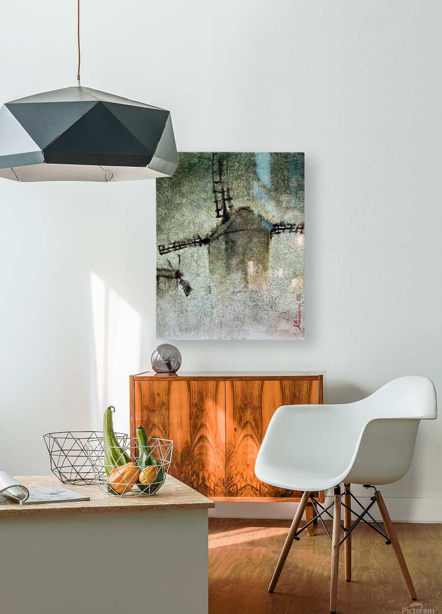 Windmills in the fog  HD Metal print with Floating Frame on Back