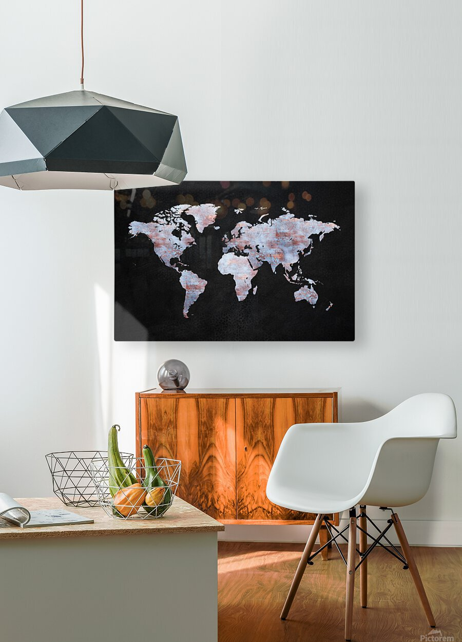 Artistic World Map XII  HD Metal print with Floating Frame on Back