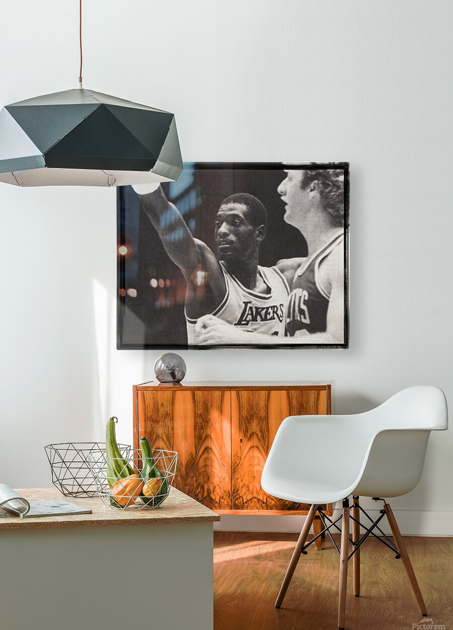 Michael Cooper and Larry Bird Film Strip  HD Metal print with Floating Frame on Back