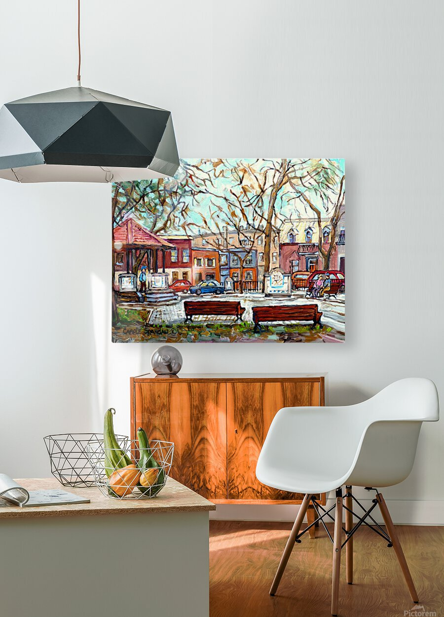 PORTUGUESE PARK PLATEAU MONT ROYAL MONTREAL STREET SCENE  HD Metal print with Floating Frame on Back