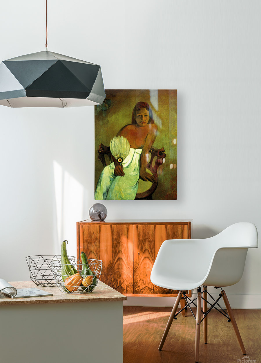 Young Girl with Fan by Gauguin  HD Metal print with Floating Frame on Back