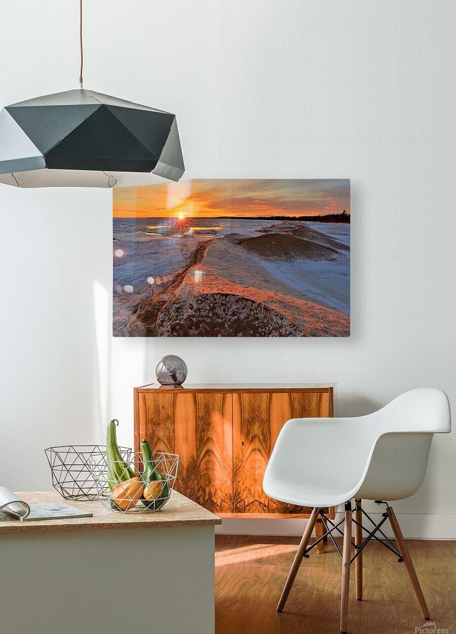 Icy Sunset  Naubinway Michigan  HD Metal print with Floating Frame on Back