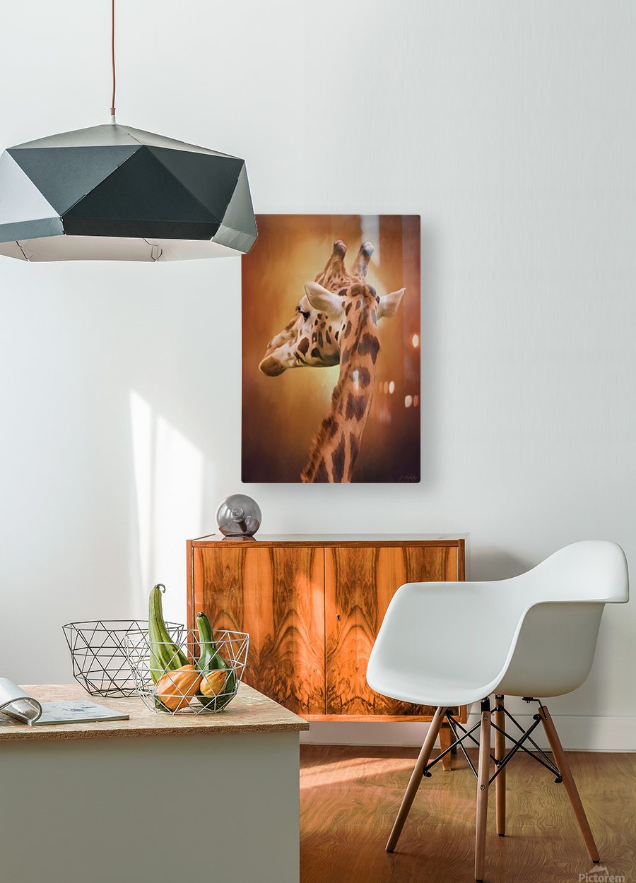 Rising Above - Giraffe Art  HD Metal print with Floating Frame on Back