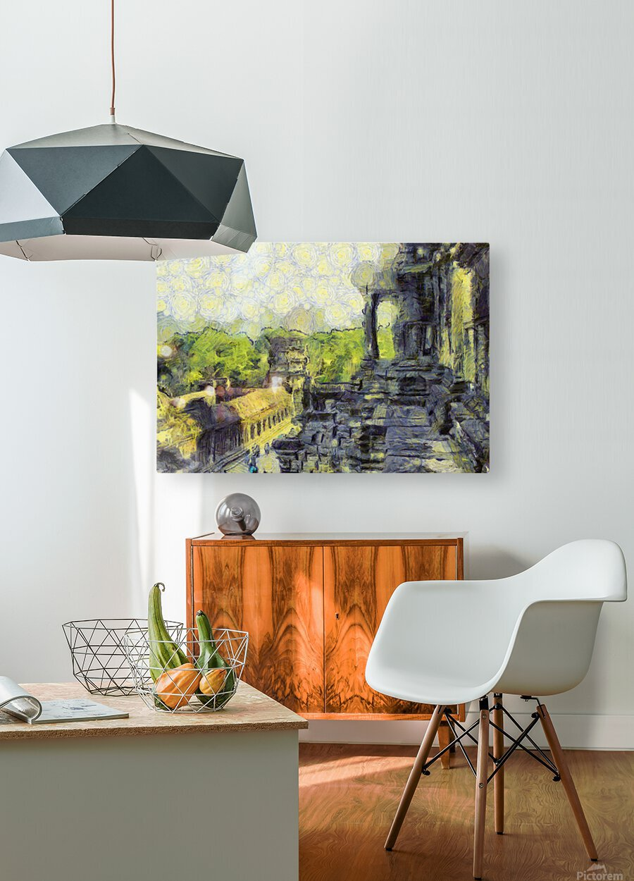 CAMBODIA Angkor Wat oil painting in Vincent van Gogh style. 130  HD Metal print with Floating Frame on Back