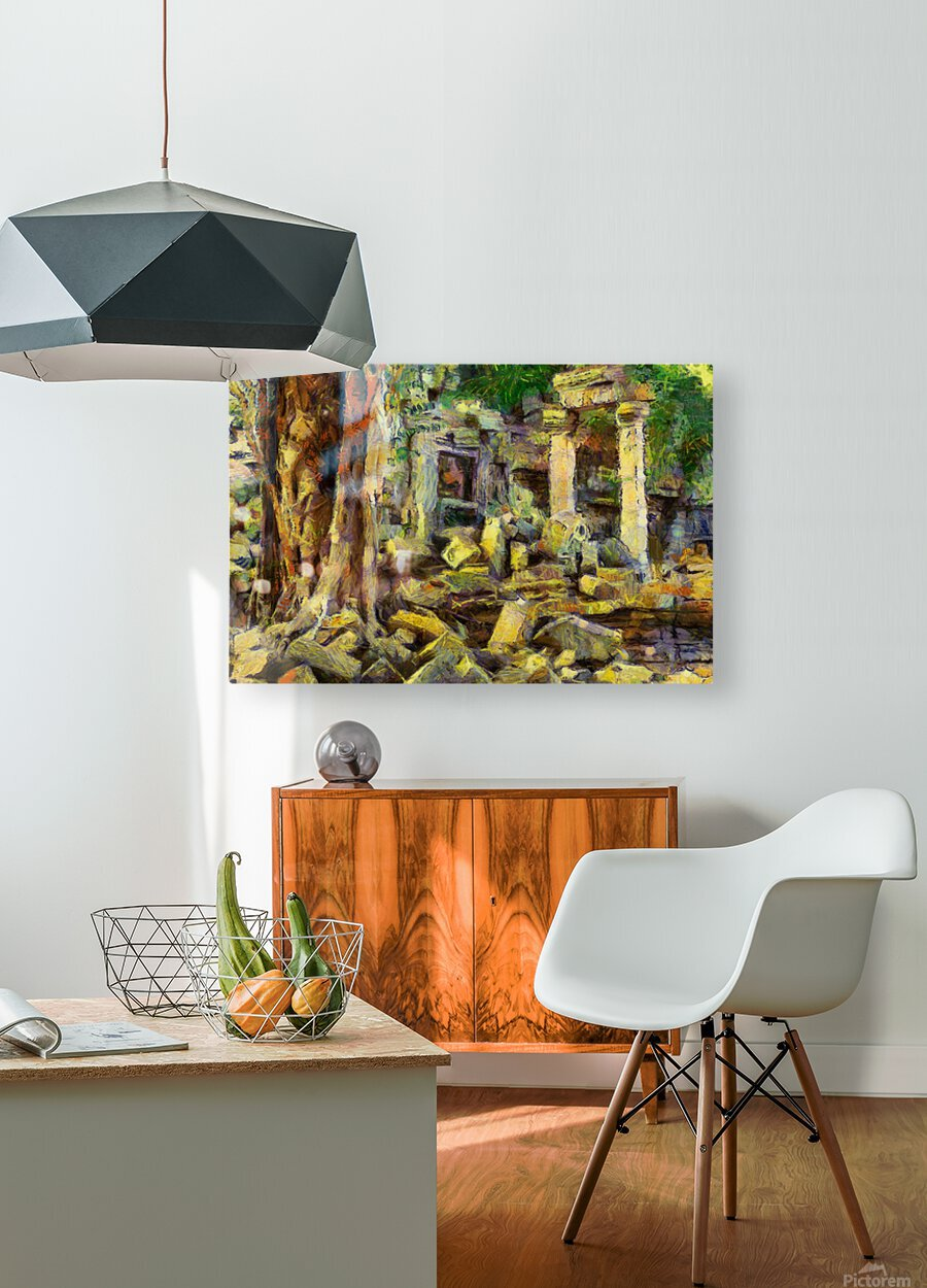 CAMBODIA Angkor Wat oil painting in Vincent van Gogh style. 148  HD Metal print with Floating Frame on Back