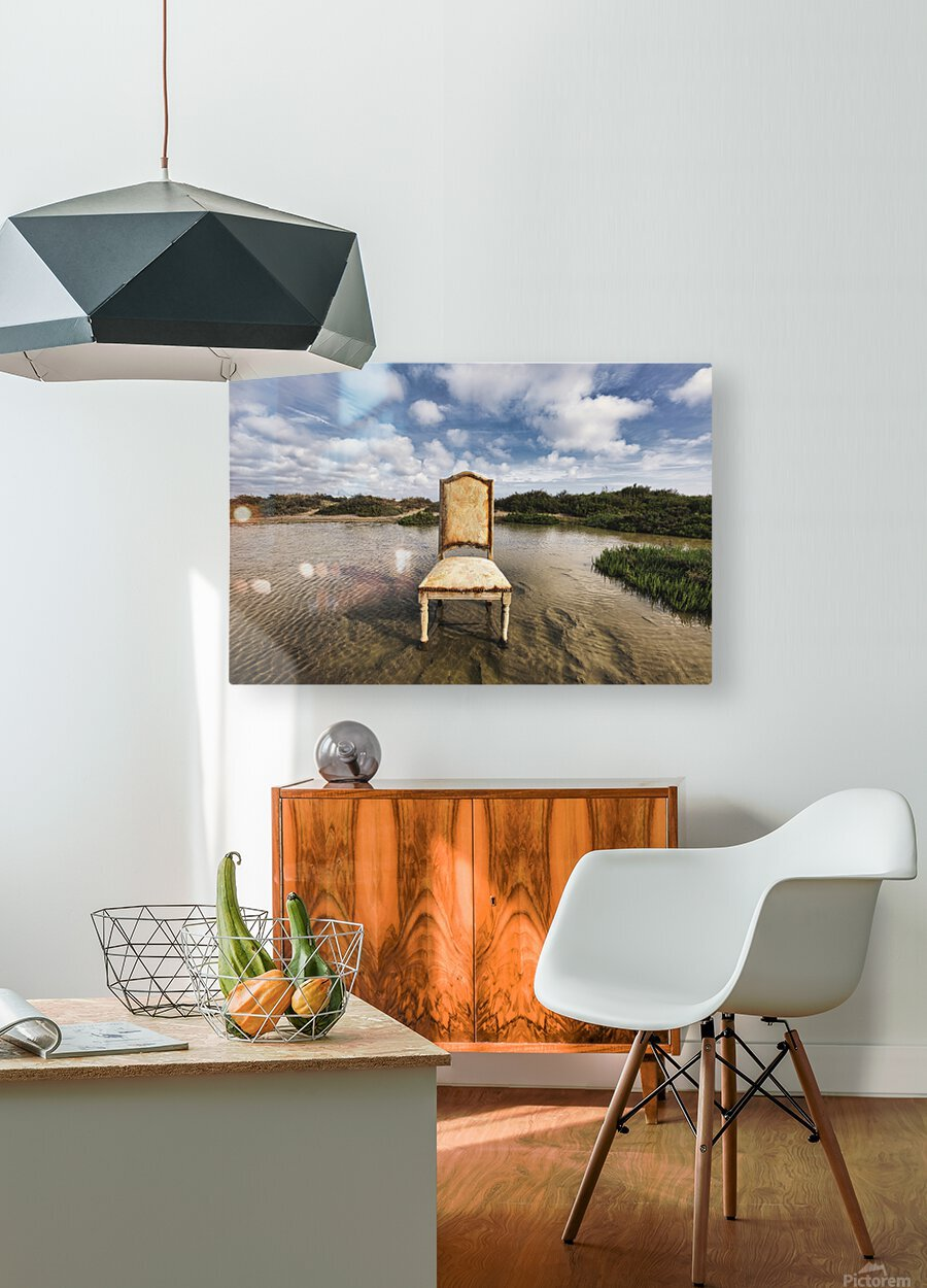 Chair in a pool of water - color version  HD Metal print with Floating Frame on Back