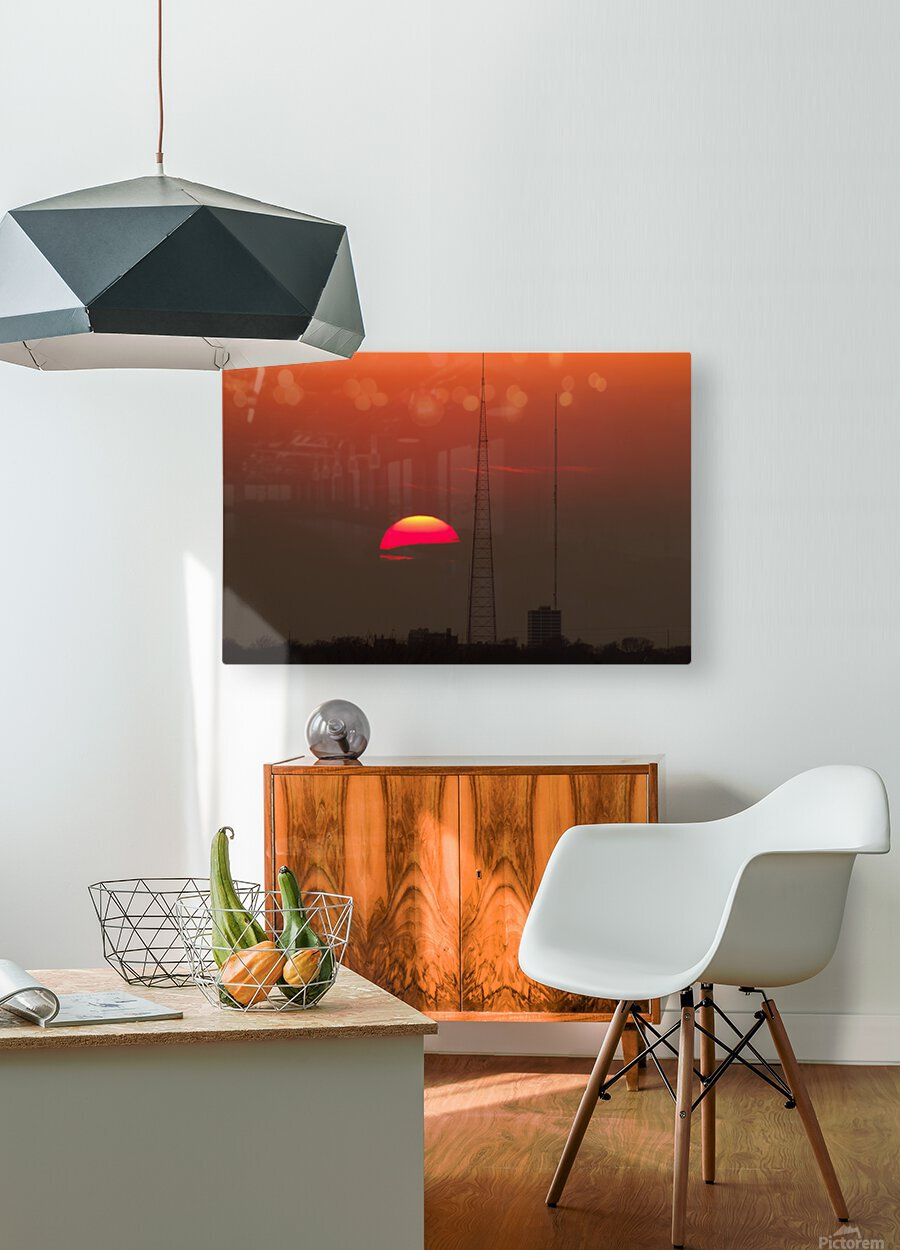 KCMO Tower Sunset   HD Metal print with Floating Frame on Back