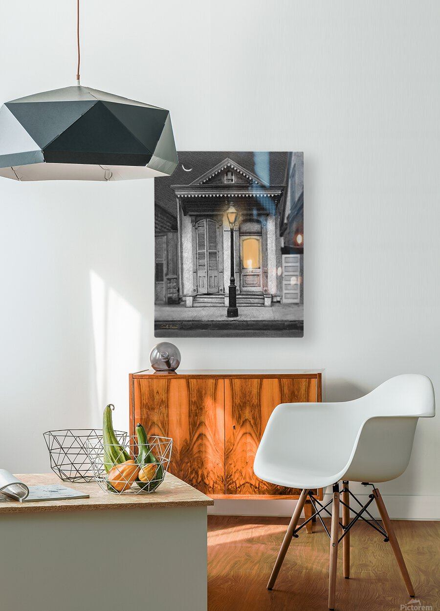 French Quarter Lamp Light  HD Metal print with Floating Frame on Back