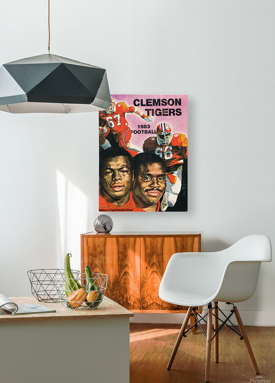 1983 Clemson Tigers Football Poster  HD Metal print with Floating Frame on Back