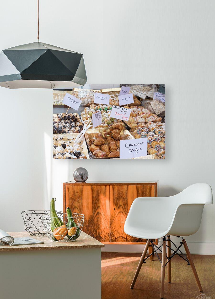 Desserts at market in France  HD Metal print with Floating Frame on Back