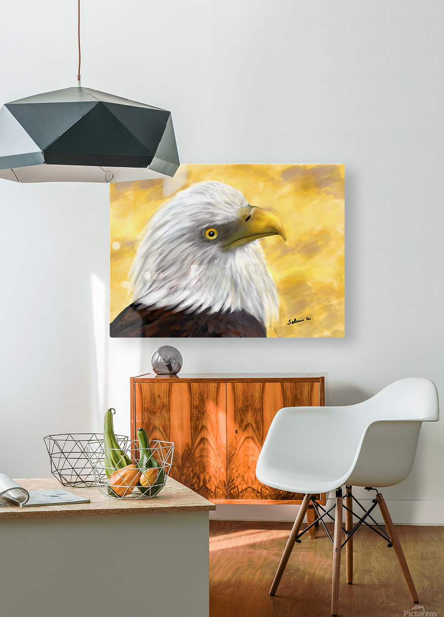 Proud Eagle  HD Metal print with Floating Frame on Back