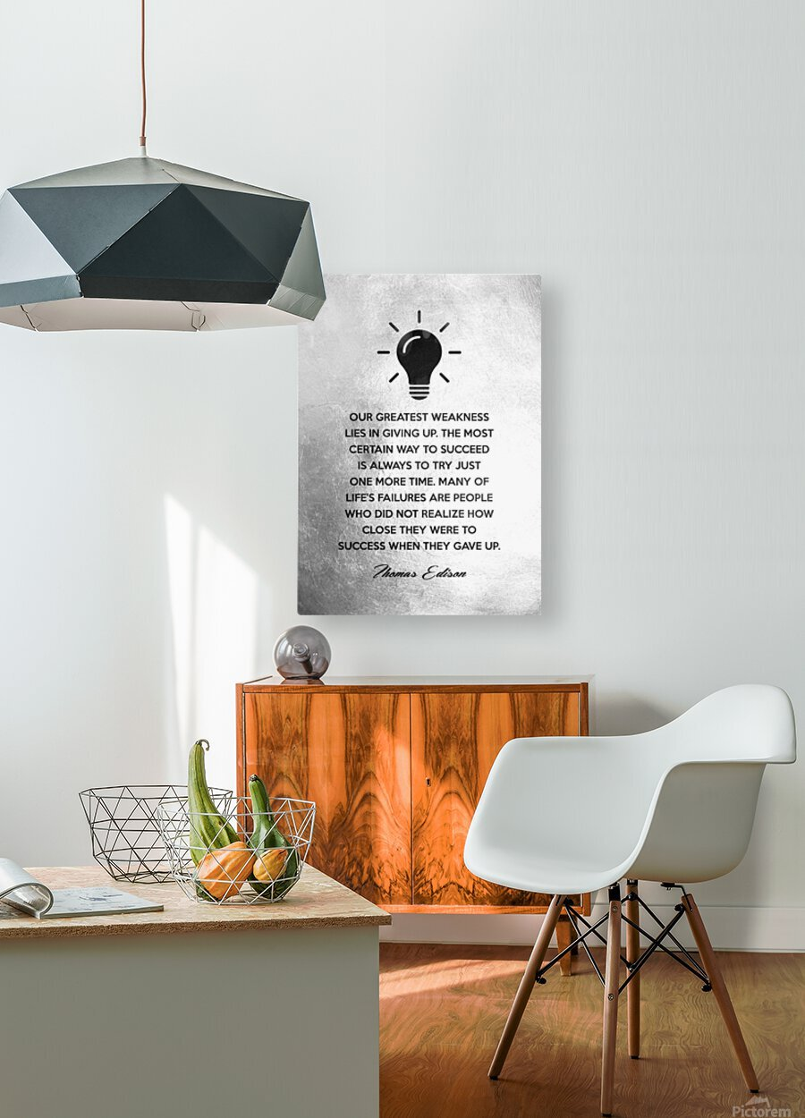 Thomas Edison Motivational Wall Art  HD Metal print with Floating Frame on Back