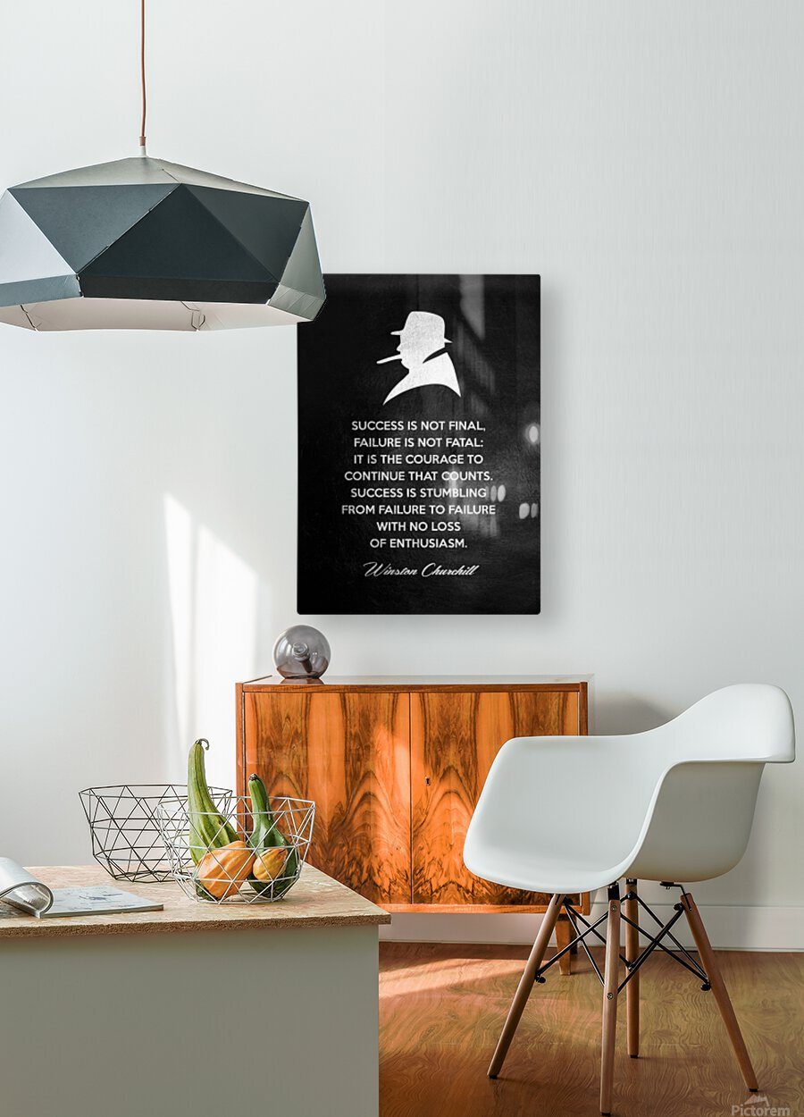 Winston Churchill Motivational Wall Art  HD Metal print with Floating Frame on Back