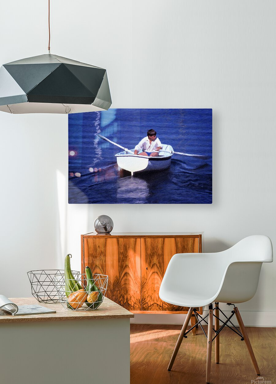 Rower  HD Metal print with Floating Frame on Back