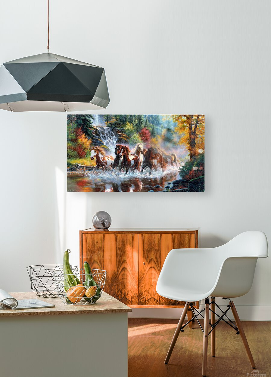 Galloping River  HD Metal print with Floating Frame on Back