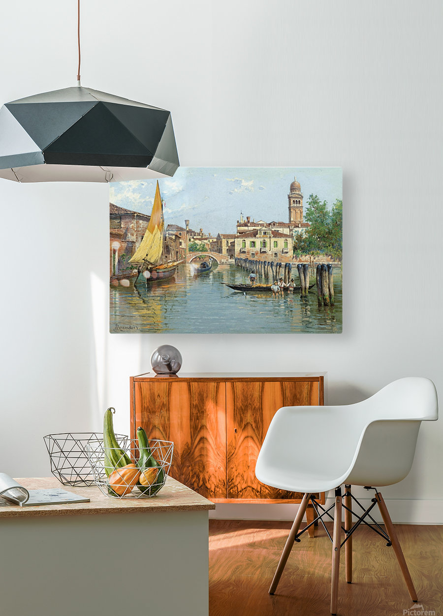 Gondolas on a canal in Venice  HD Metal print with Floating Frame on Back
