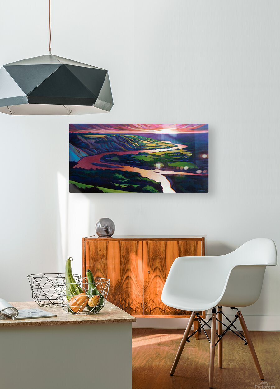 Peace River Setting Sun  HD Metal print with Floating Frame on Back