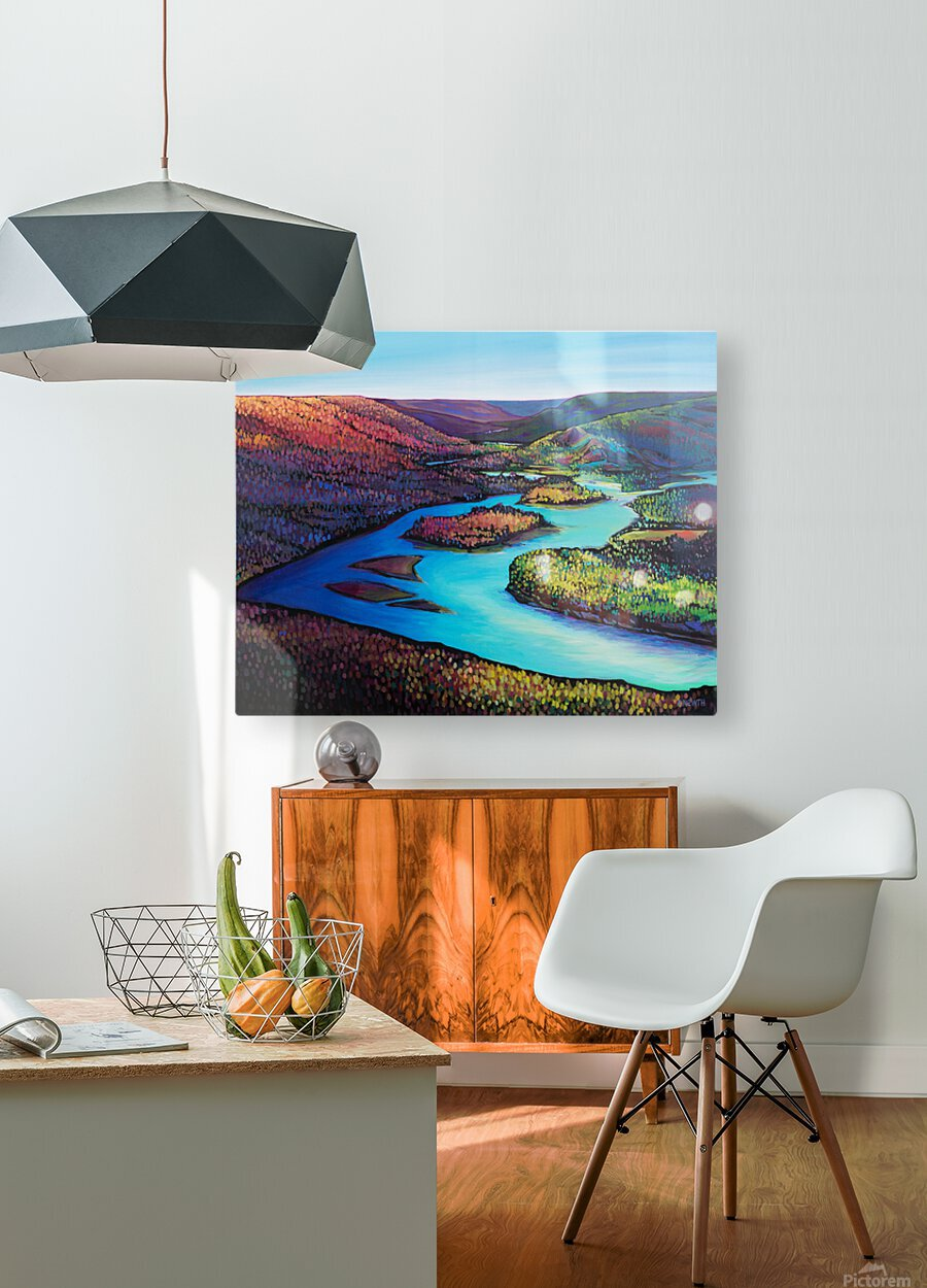 Fall Arrives at Peace River  HD Metal print with Floating Frame on Back