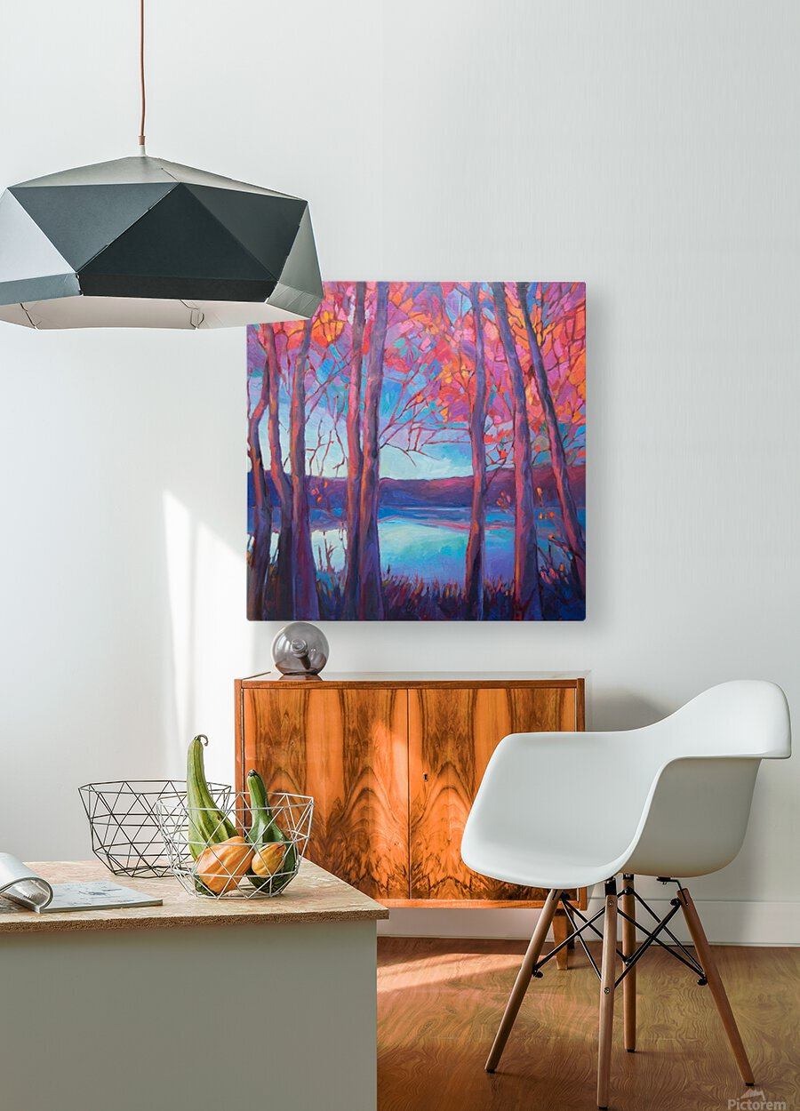 Autumn at the Lake  HD Metal print with Floating Frame on Back