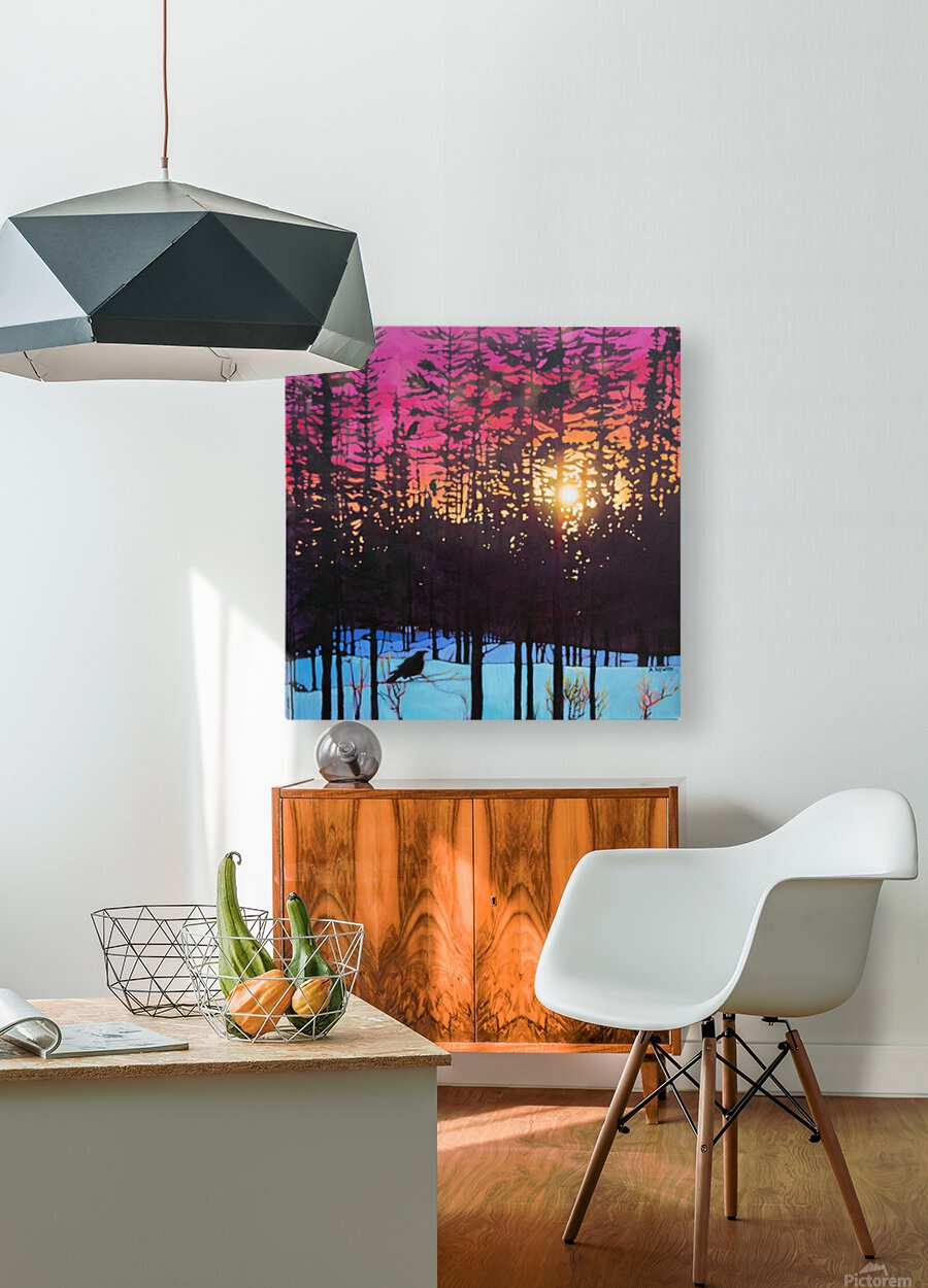 Crows at Sunset  HD Metal print with Floating Frame on Back