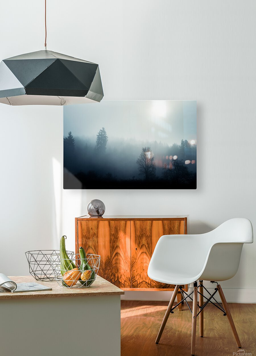 Sunrise in the misty forest  HD Metal print with Floating Frame on Back