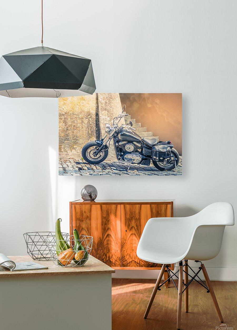 Chopper cruiser motorbike  HD Metal print with Floating Frame on Back