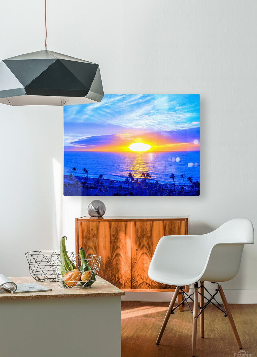 Rainbow Sunset in the Tropics   Hawaii  HD Metal print with Floating Frame on Back