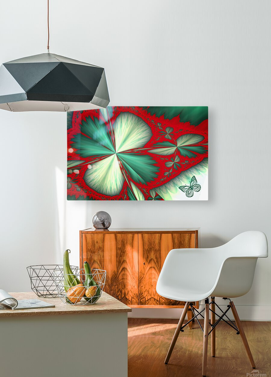 Shamrock and Butterfly  HD Metal print with Floating Frame on Back