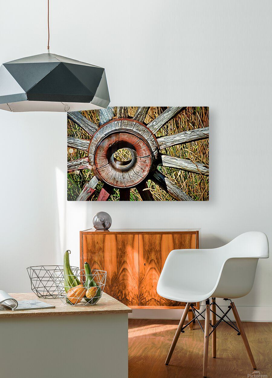 Old Wagon Wheel  HD Metal print with Floating Frame on Back