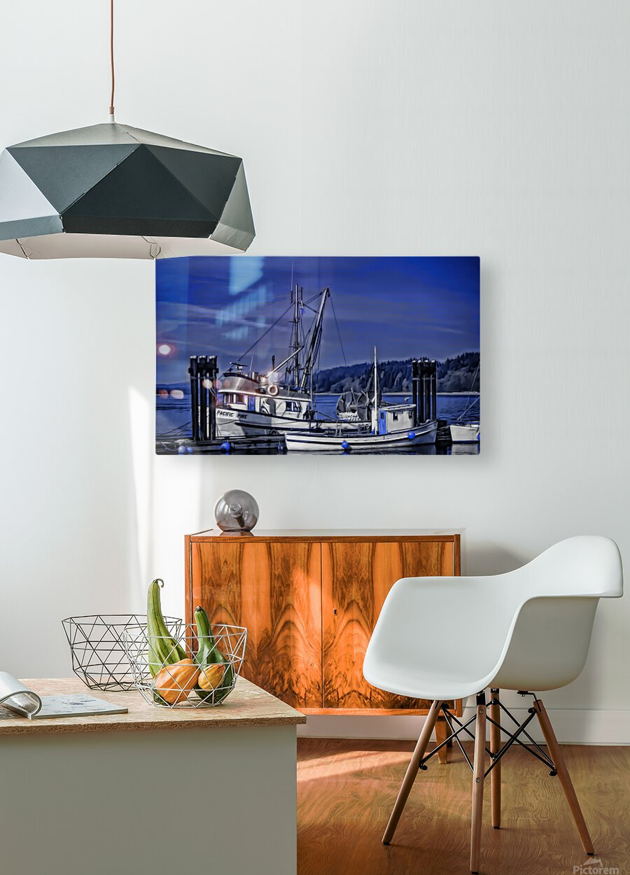 Fishing Boats at the Dock  HD Metal print with Floating Frame on Back
