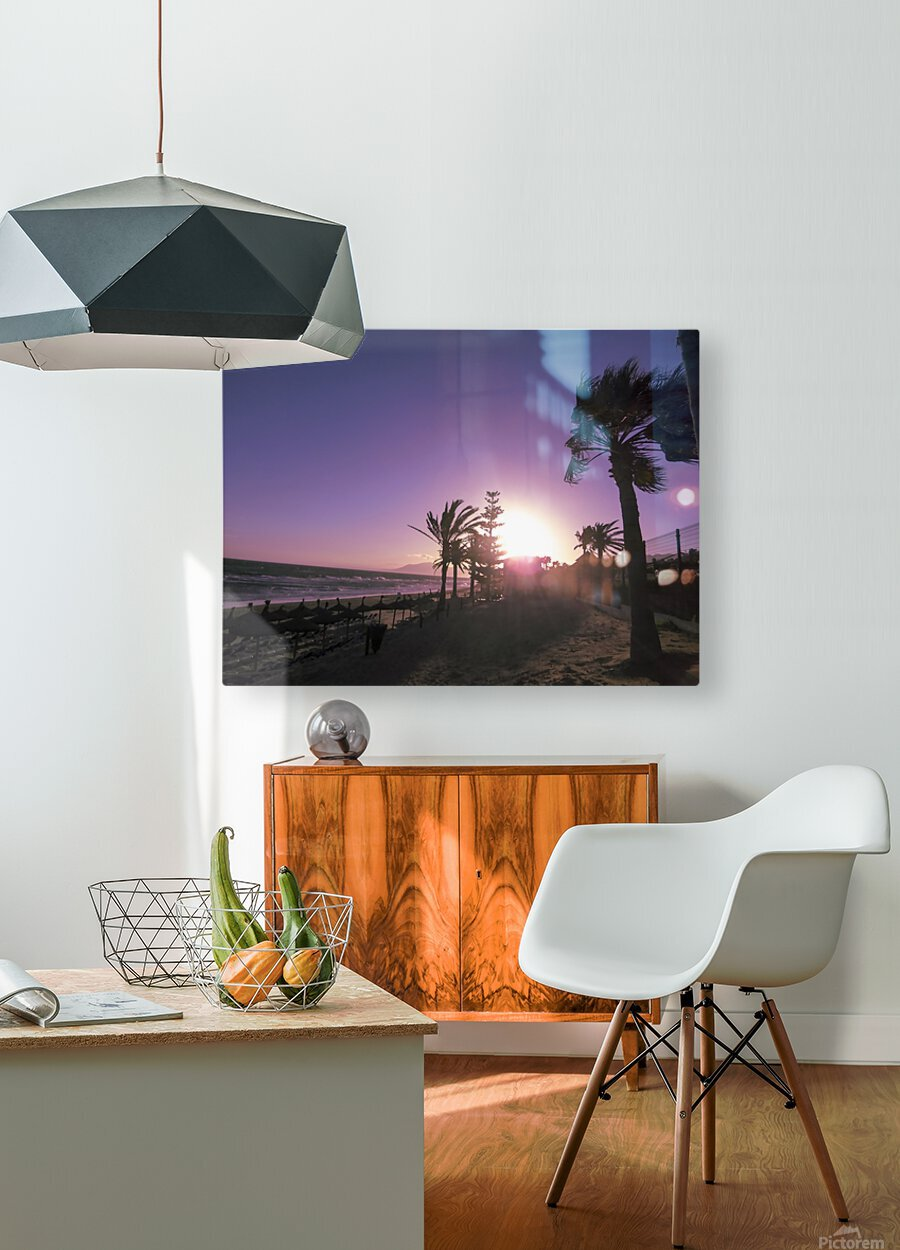 Sunset   Costa Del Sol   Andalusia Spain  HD Metal print with Floating Frame on Back