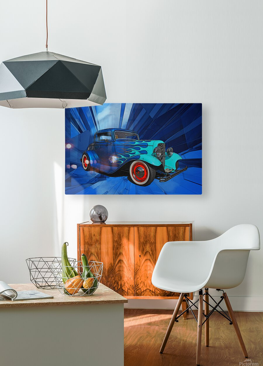 1932 Ford 3-Window Coupe  HD Metal print with Floating Frame on Back