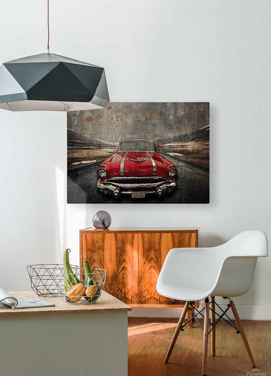 1956 Pontiac Strato-Streak  HD Metal print with Floating Frame on Back
