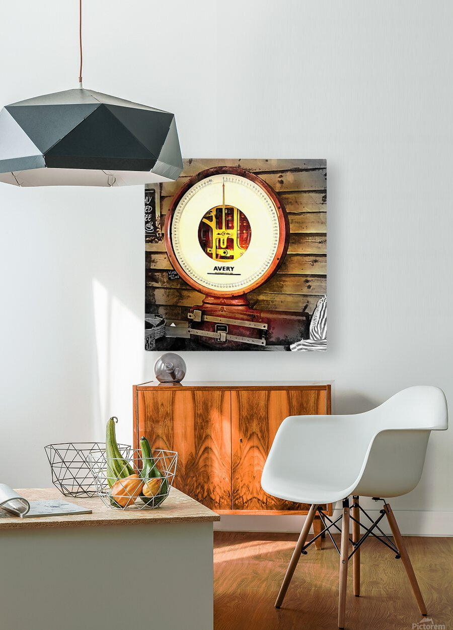 Weighing Scales  HD Metal print with Floating Frame on Back