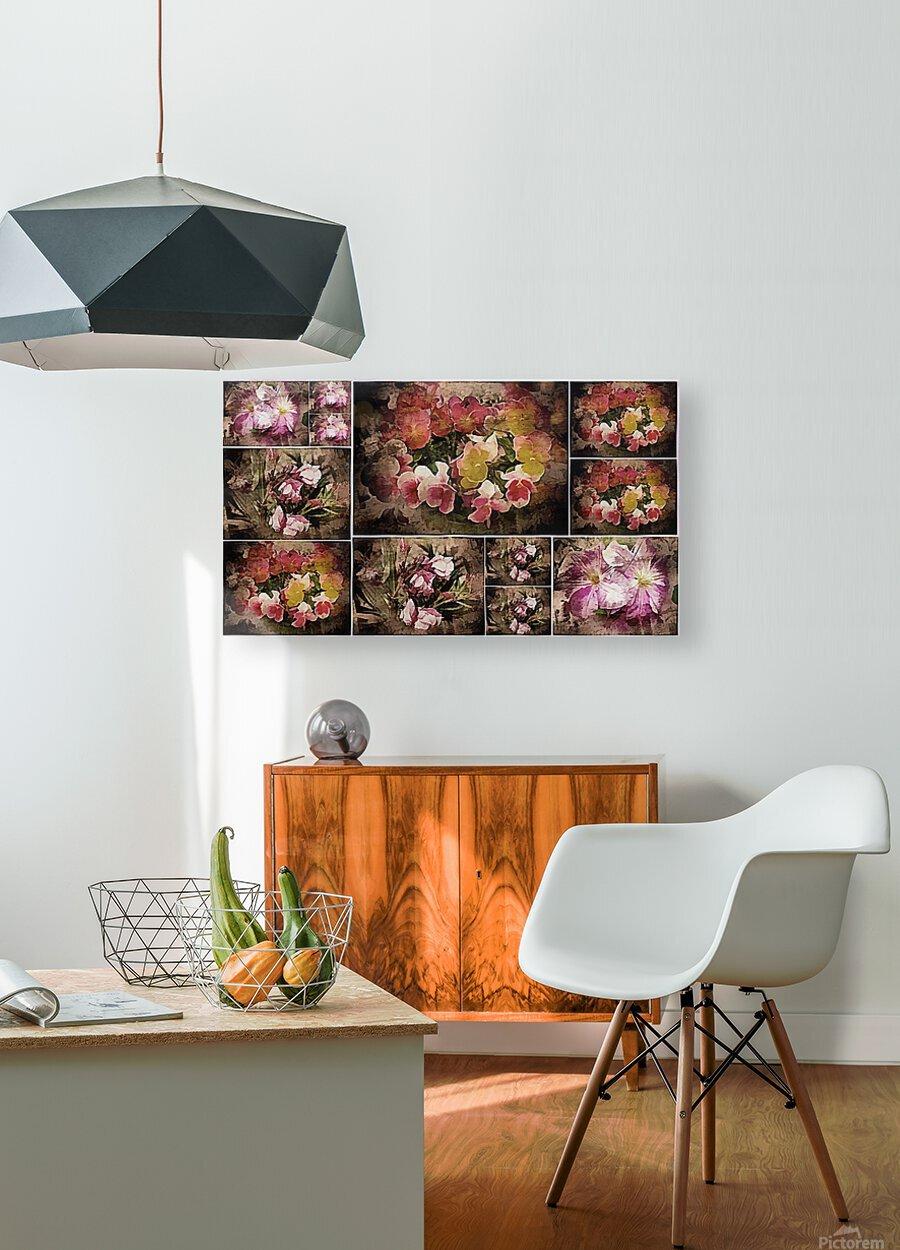 Vintage Floral Imaginings Collage  HD Metal print with Floating Frame on Back