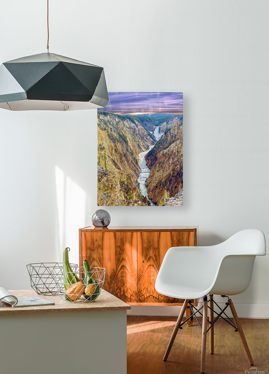Grand Canyon of Yellowstone - The Falls and River in the Fading Light of Day  Yellowstone National Park at Sunset  HD Metal print with Floating Frame on Back