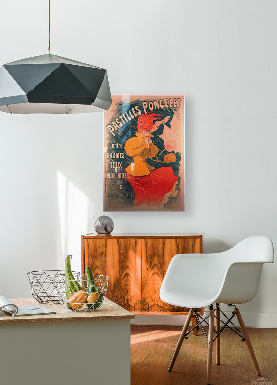 Original 1896 Lithograph Poster Pastilles Poncelet  HD Metal print with Floating Frame on Back