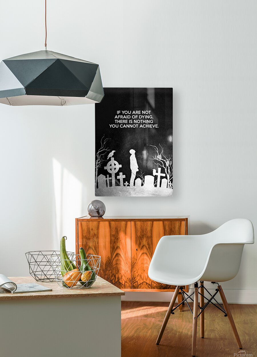 Laugh at Death Motivational Wall Art  HD Metal print with Floating Frame on Back