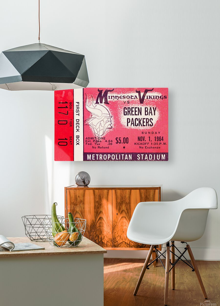 1964 Minnesota Vikings vs. Green Bay Packers Ticket Canvas  HD Metal print with Floating Frame on Back