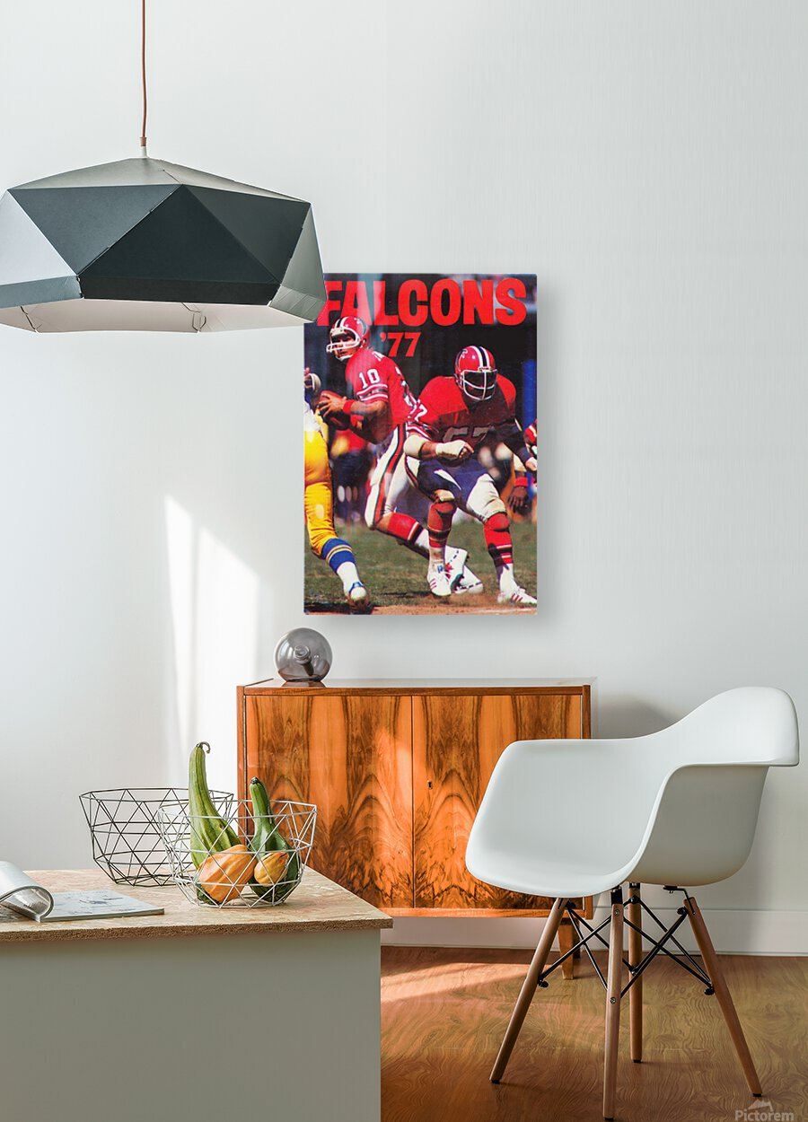 1977 Atlanta Falcons Retro Football Poster  HD Metal print with Floating Frame on Back