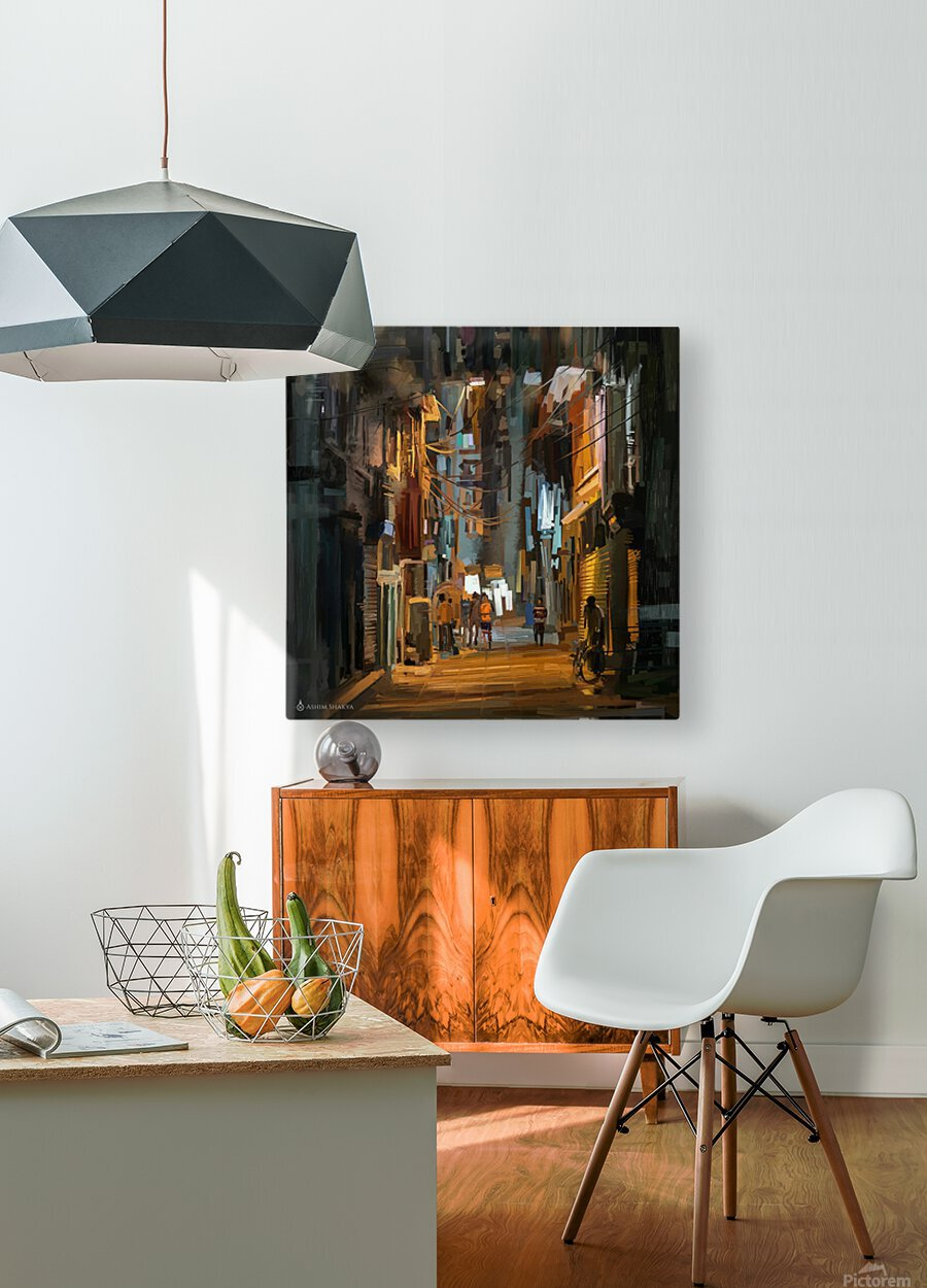LateNightStreet  HD Metal print with Floating Frame on Back