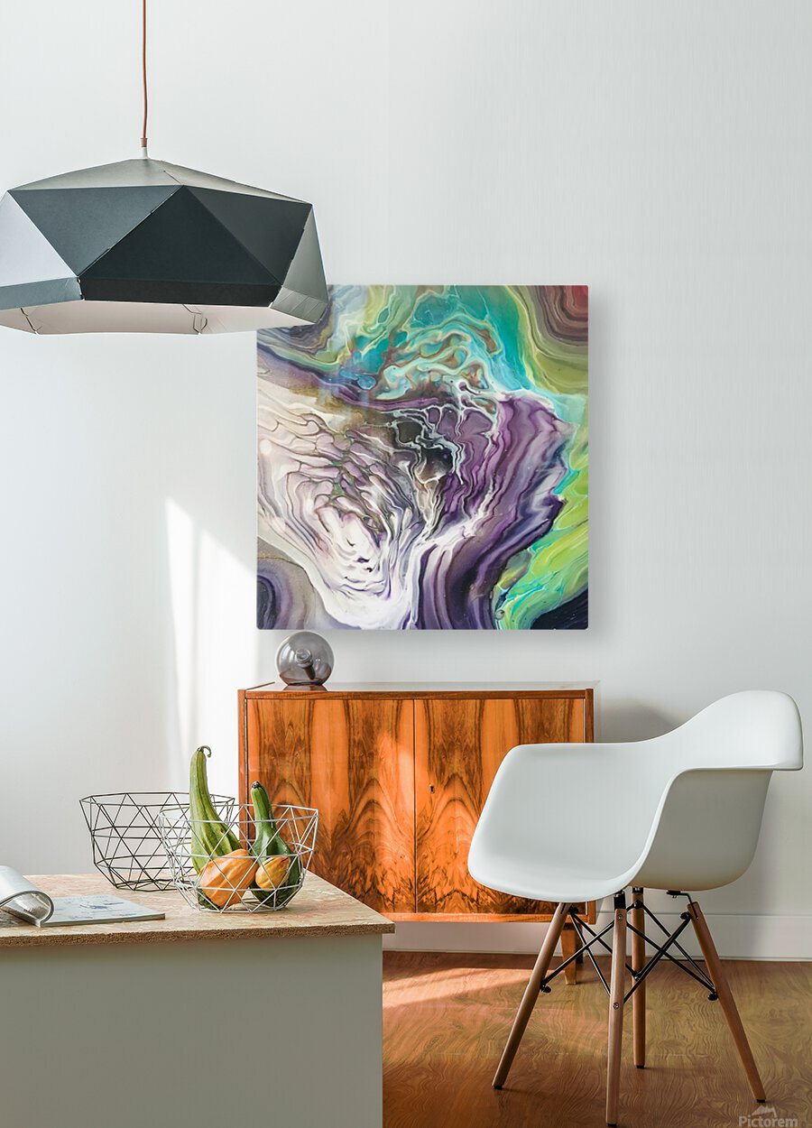 Peacock Marble Abstract  HD Metal print with Floating Frame on Back