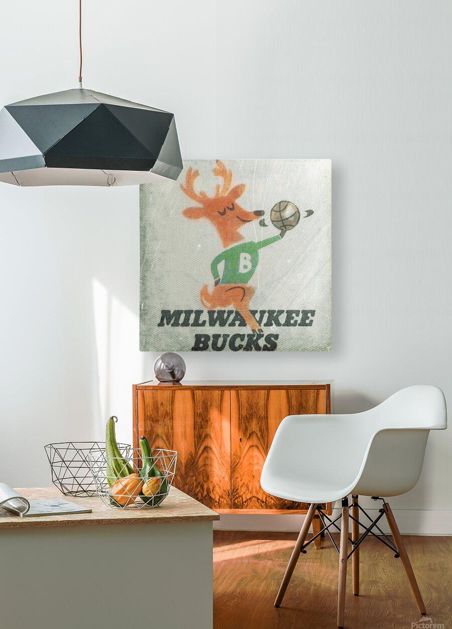1974 Milwaukee Bucks Fleer Decal Art  HD Metal print with Floating Frame on Back