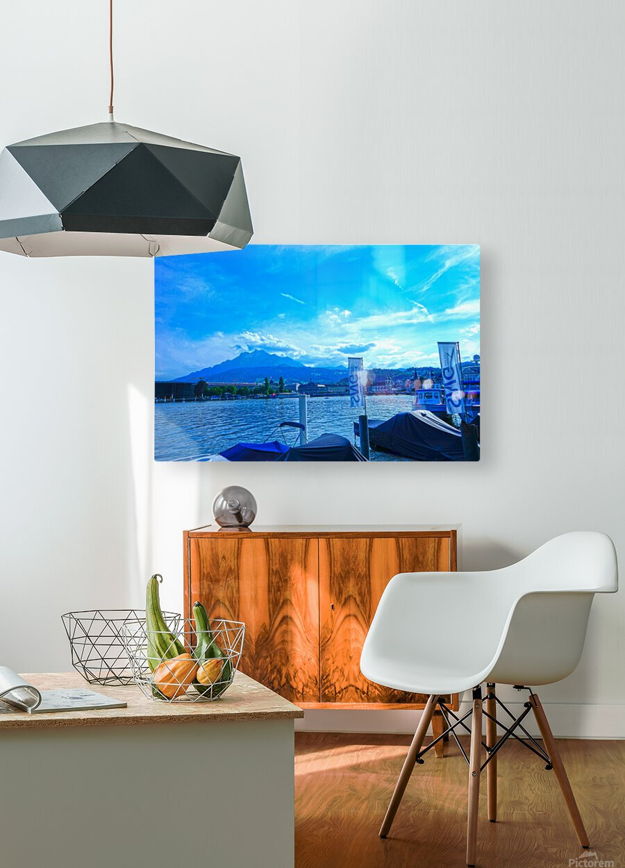 Blue Day Mount Pilatus on the Shores of Lake Lucerne   Central Swiss Alps  HD Metal print with Floating Frame on Back