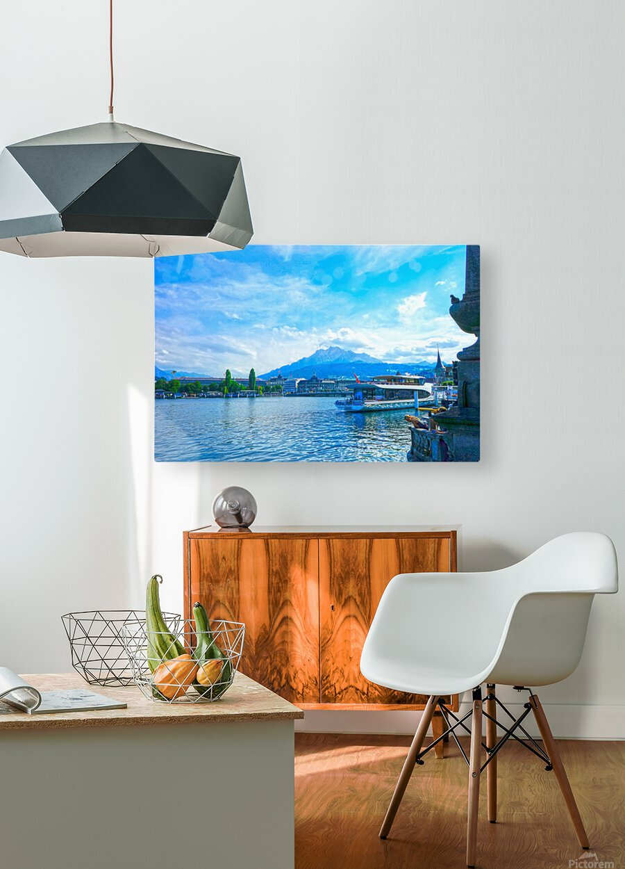 Mount Pilatus on the Shores of Lake Lucerne   Central Swiss Alps  HD Metal print with Floating Frame on Back