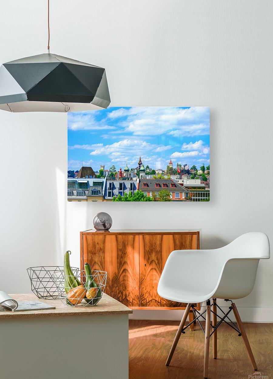 Skyline Lucerne Switzerland  HD Metal print with Floating Frame on Back
